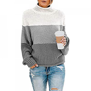 30.0% off Ferbia Women Color Block Cowl Neck Sweaters Batwing Oversized Knitted Pullover Chunky Lo..