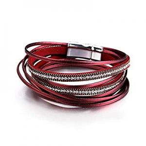 10.0% off Fesciory Women Multi-Layer Leather Wrap Bracelet Handmade Wristband Braided Rope Cuff Ba..