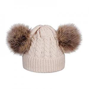 80.0% off PLENTOP Kids Toddler Baby Autumn/Winter Hat Warm Fleece Lined Pompom Knitted Beanie Hats..
