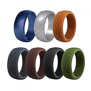 Ryfan Silicone Ring for Men's Wedding - Rubber Bands Stylish Wedding Single Bands Set. Safe now 70..