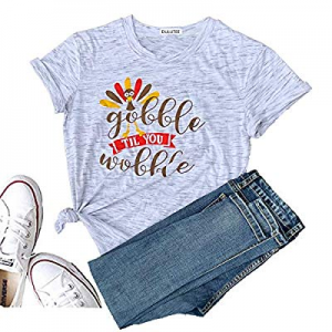 Gobble Til You Wobble T Shirt Women Christmas Shirt Graphic Tee Funny Cute Blouse Tees Casual Tops..