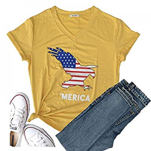 Women's Short Sleeve T-Shirt USA Graphic Tees Tops Christmas Blessed Tops Funny Blouse Tees now 30..