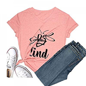 30.0% off Women's Be Kind Short Sleeve Christmas T-Shirt Funny Graphic Tees Casual Inspirational T..