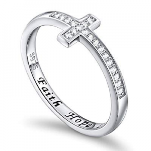 One Day Only!Inspirational Jewelry Sterling Silver Faith Hope Love Sideways Cross Ring, Size 5-10 ..