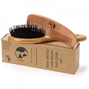 25.0% off Boar Bristle Hair Brush With Nylon Pins and Free Comb | Pins To Detangle and Better Stim..