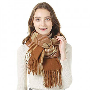 YIVEKO Infinity Scarf with Zipper Pocket Women Plaid Scarf Winter Cashmere Feel now 45.0% off