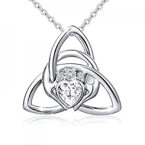 One Day Only!925 Sterling Silver Good Luck Irish Claddagh Celtic Knot Love Heart Pendant Necklace ..