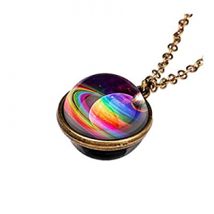 winwintom Glow in The Dark Galaxy System Double Sided Glass Dome Planet Necklace Pendant (1pcs-G) ..