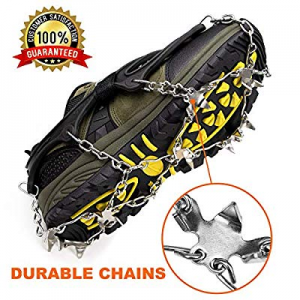 35.0% off Crampons Ice Cleats for Shoes and Boots Women Men Kids Anti Slip 19 Spikes Stainless Ste..