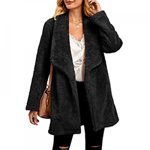 Ferbia Women Faux Fur Jacket Fluffy Fuzzy Lapel Open Front Coat Long Sleeve Thick Warm Outwear now..