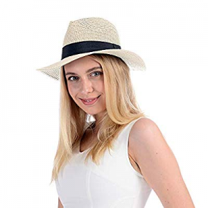 Womens Straw Panama Hat Wide Brim Sun Beach Hats with UV UPF 50+ Protection for Both Women Men now..