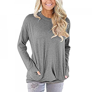 AMOUSTORE Womens Casual Tops Solid Long Sleeve Round Neck Pocket T Shirts Blouses Sweatshirts now ..