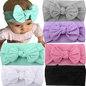 40.0% off Knotted Baby Headbands Bows Nylon Baby Girls Head Wraps Hairbands Turban Newborn Infant ..