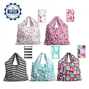 45.0% off Grocery Shopping Bags 5 Pack Reusable Washable Grocery Bags Large 50LBS Cute Groceries B..