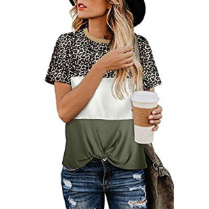 MEROKEETY Women's Leopard Print Tops Crew Neck Short Sleeve Color Block Twist Knot T Shirts now 20..