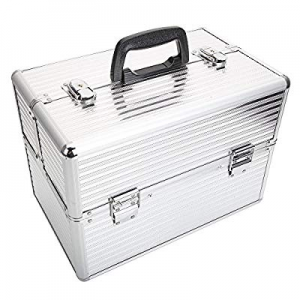 One Day Only!Aluminum Makeup Case Makeup Storage Box with Keys Silver now 80.0% off