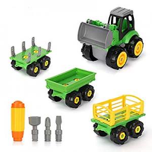 Youwo Take Apart Toys Construction Truck- Toddler Building Kit Set of 4 Take Apart Toys STEM Educa..