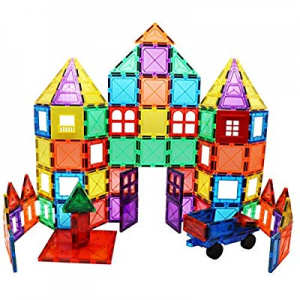 Skymags Magnetic Blocks Building Tiles 100 Peice Set 3D Clear Color with Strong Magnets Developes ..