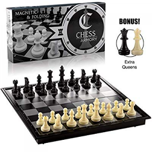 One Day Only!Chess Armory Magnetic Travel Chess Set Folding Board Game with Extra Queens and Stora..