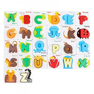 One Day Only!50.0% off GEMEM Alphabet Flash Cards Animals Wooden Jigsaw Puzzle ABC Letter Cards fo..