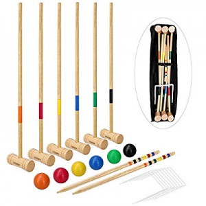 LULULION Croquet Set for Kids and Adults - Includes Extra Large Carrying Bag - 6 Players now 50.0%..