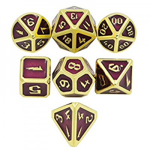 DNDWoW Metal Dice Set with Gold Cool Font Grape Purple DND Dice for RPGs now 40.0% off , MTG, 5e D..