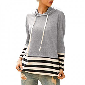 ROSE GAL Women's Hoodies Long Sleeve Striped Tops Casual Sweatshirt Drawstring Pullover now 50.0% ..