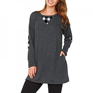 LaSuiveur Women's Crewneck Long Sleeve Loose Fit Pockets Tunic Tops now 60.0% off