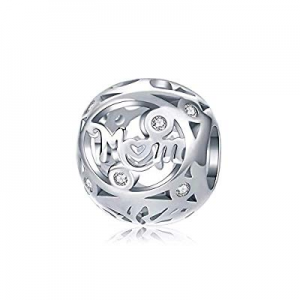 Cubic Zirconia Bead Charm for Women now 50.0% off , White Gold Plated Tree of Life CZ Bead Charm M..