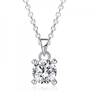 LicLiz 2 Carat Silver Solitaire Cubic Zirconia Pendant Necklace now 50.0% off