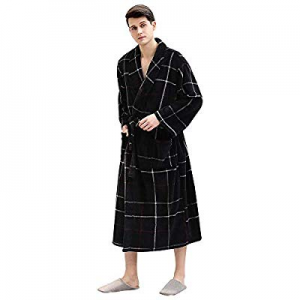 Mens Long Fleece Robe now 60.0% off ,Warm Soft Bathrobe Lightweight Plush Bath Robe Cozy Plaid Cou..