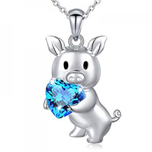 Girlfriend Birthday Gifts 925 Sterling Silver Cute Animal Jewelry Cubic Zirconia Love Heart Pendan..