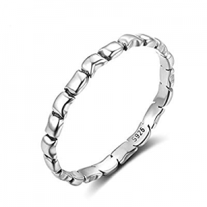 LicLiz Sterling Silver Band Rings for Girls now 50.0% off , Special Irregular Eternity Band Ring 2..