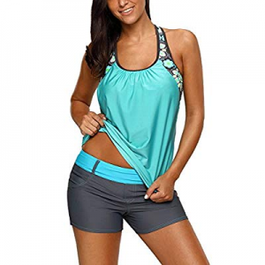 Aleumdr Women's Blouson Floral T-Back Push Up Tankini Top Sporty Swimwear S-XXXL now 40.0% off