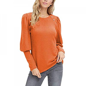 Cutiefox Women's Long Sleeve Round Neck T Shirt Button Tops now 10.0% off