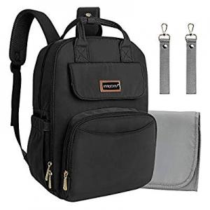 Diaper Bag Backpack Black Travel Nursing Nappy Bags for Dad Mom (No USB Port) now 50.0% off