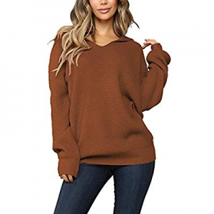 Pink Queen Women's V Neck Long Batwing Sleeve Casual Hooded Pullover Sweater now 15.0% off