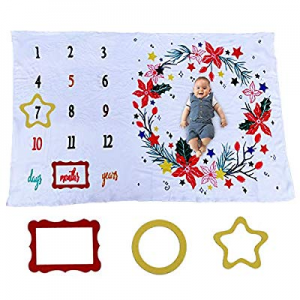 OZMI Baby Monthly Milestone Blanket now 50.0% off , Floral Plush Fleece Baby Photography Backdrop ..