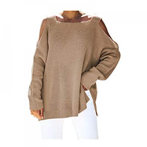 Pink Queen Women Cold Shoulder Loose Knit Top Fashion Square Neck Sweater now 20.0% off