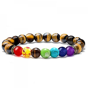 One Day Only!60.0% off MONOZO Bead Chakra Bracelet - 7 Chakras 8mm Lava Rock Stone Anxiety Bracele..