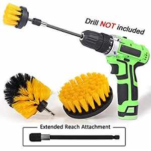 One Day Only!Drill Brush Power Scrubber Drill Brush Attachment 4 Set with Extend Long Attachment S..