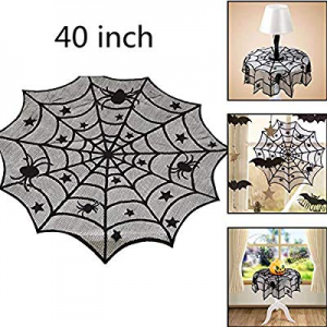 One Day Only!Fashionwu Halloween Tablecloth 40 Inch Round Spider Web Lace Table Topper Black Spide..