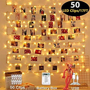 One Day Only!Mumu Sugar Photo Clips String Light now 50.0% off , Waterproof 8 Lighting Modes 50 LE..