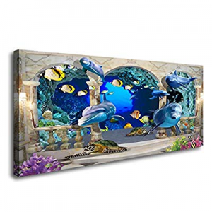 One Day Only!72.0% off D72862 Canvas Wall Art 3D Dolphin Turtle and Fish Background Large Wall Dec..