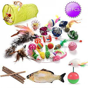 One Day Only!GaiusiKaisa Cat Toys Kitten Toys Assortments now 25.0% off ,23Pcs,Cat Feather Toys,In..