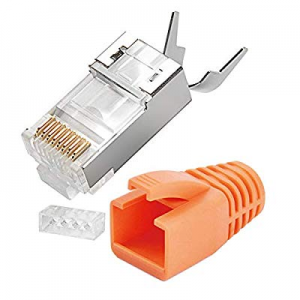 5.0% off VBOR RJ45 Shielded Connector RJ45 Plug 50μ-Gold Plated Modular Plug 3 Piece Set for CAT7&..