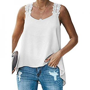 Dearlovers Women Cami Tank Tops Lace Crochet Strappy Sleeveless Loose Shirt Blouses now 60.0% off