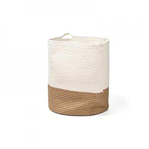Delicate Large 100% Cotton Rope Basket 16x18 Baby Laundry Basket Tall Woven Basket Nursery Bin Sto..