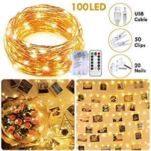 33Ft 100LED Fairy Lights Battery Operated/USB Plug in now 50.0% off ,8 Modes Waterproof Copper Wir..