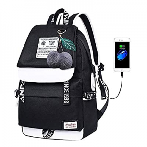 Lmeison Teens Girls Backpack with USB now 50.0% off , Cute Bookbag for Middle School Oxford Travel..